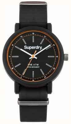 Superdry Mens campus nato bracelet en caoutchouc noir cadran noir SYG197B