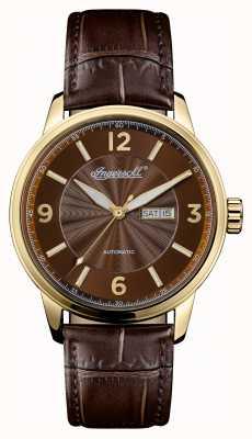 Ingersoll Mens 1892 le bracelet en cuir brun régent cadran brun I00201