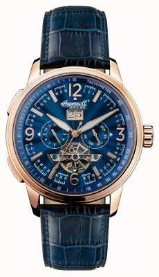 Ingersoll Mens 1892 The Regent bracelet en cuir bleu cadran bleu I00301