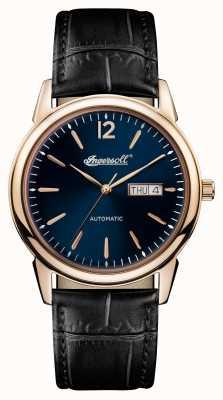 Ingersoll Mens 1892 la nouvelle ceinture noire en cuir noir cadran bleu I00504