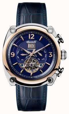 Ingersoll Mens 1892 le bracelet en cuir bleu michigan bleu cadran bleu I01101