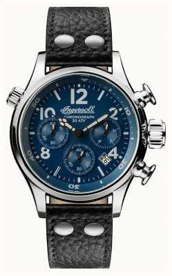 Ingersoll Découverte masculine le bracelet en cuir noir Armstrong cadran bleu I02001