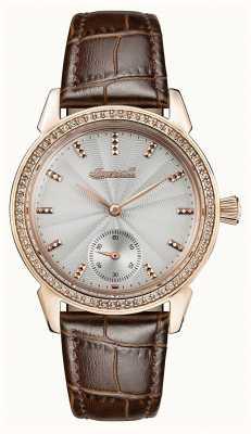 Ingersoll Femmes chronique le bracelet en cuir brun marron gris I03702