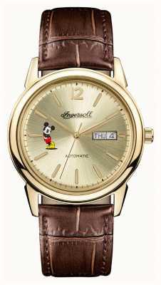 Disney By Ingersoll Union des hommes le nouveau bracelet en cuir marron disney haven ID00202