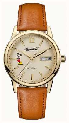 Disney By Ingersoll Womens union le nouveau bracelet en cuir marron disney haven ID01101