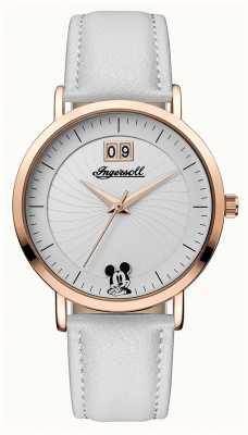 Disney By Ingersoll Womens union le bracelet en cuir blanc de disney cadran argenté ID00502