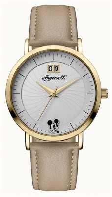 Disney By Ingersoll Womens union le cadran argenté bracelet en cuir beige disney ID00503