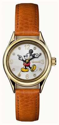Disney By Ingersoll Womens union le bracelet en cuir marron disney cadran argenté ID00901