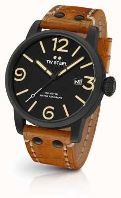 TW Steel Mens cadran sandwich maverick noir cuir beige sangle 45mm MS31