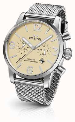 TW Steel Mens maille d'acier maverick cadran de chronographe à la crème de sangle 45mm MB3