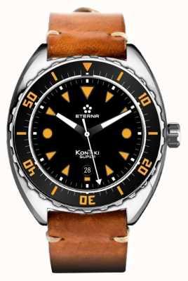 Eterna Mens Super kontiki bracelet en cuir brun cadran noir automatique 1273.41.49.1363