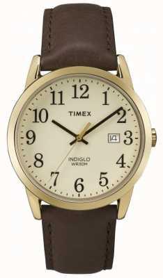 Timex Bracelet en cuir à cadran crème pour homme facile à lire TW2P75800