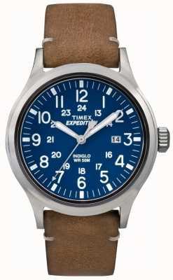 Timex Mens scout cadran bleu bracelet brun en cuir TW4B01800