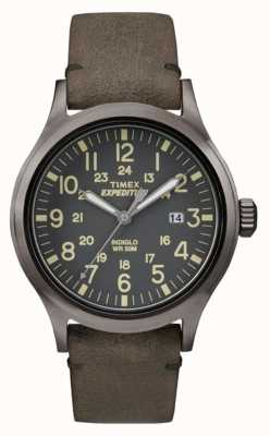 Timex Mens scout cadran noir gris bracelet en cuir TW4B01700