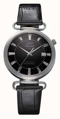 J&T Windmills Mens throgmorton montre mécanique cadran noir en argent sterling WGS10005/04