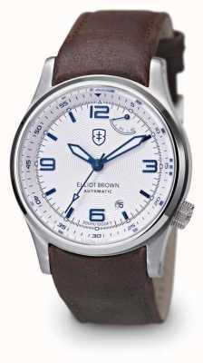 Elliot Brown bracelet en cuir brun cadran blanc de Mens 305-004-L14