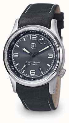 Elliot Brown Fond tyneham pour homme en cuir gris avec cadran noir 305-D05-L15