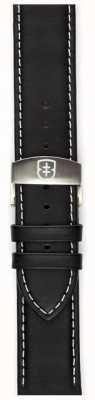 Elliot Brown Bracelet déployant en cuir huilé noir 22mm noir STR-L02
