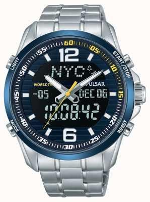 Pulsar Mens accélérateur wrc double fuseau horaire alarme de temps du monde chronographe PZ4003X1
