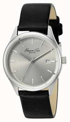 Kenneth Cole Bracelet cuir noir femme cadran argenté KC10025930