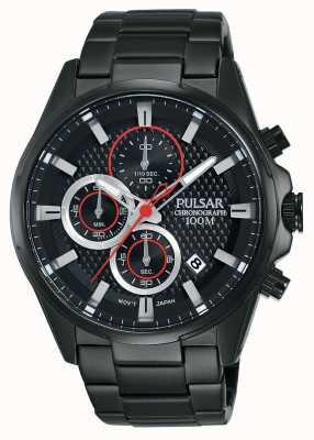 Pulsar Mens chronographe bracelet en acier noir, cadran noir PM3065X1