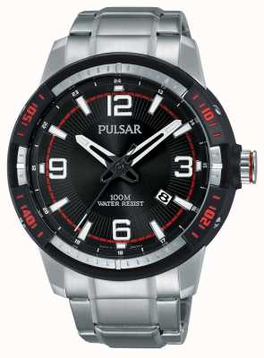 Pulsar Mens bracelet en acier inoxydable cadran noir PS9475X1