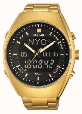 Pulsar alarme Mens or ton acier inoxydable cadran noir PZ4012X1
