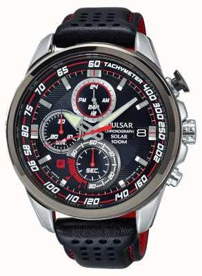 Pulsar Mens chronographe solaire bracelet en cuir noir cadran noir PZ6005X1