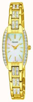 Pulsar Womens acier inoxydable ton or mère blanche du cadran nacre PEGG76X1