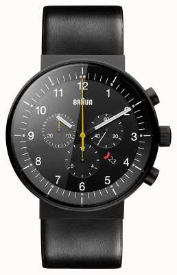 Braun Chronographe de prestige pour homme bracelet en cuir noir cadran noir BN0095BKG