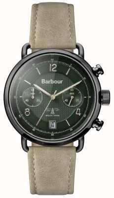 Barbour Mens salisbury khaki bracelet en cuir cadran vert BB053GRKH