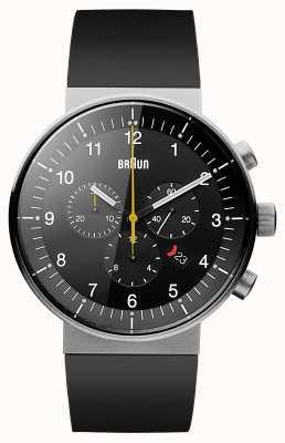 Braun Chronographe de prestige pour homme bracelet en caoutchouc noir cadran noir BN0095BKSLBKG