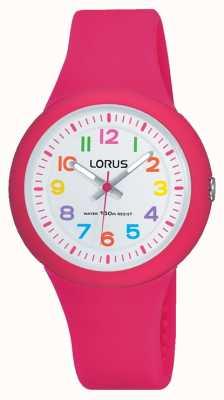 Lorus Unisex bracelet en caoutchouc rose cadran blanc RRX49EX9