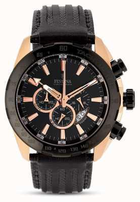 Festina Mens boîtier en or rose cadran noir bracelet en cuir noir chrono F16900/1