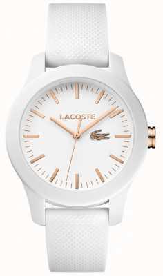 Lacoste Womens 12,12 bracelet en caoutchouc blanc cadran blanc 2000960