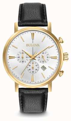 Bulova Mens Aerojet chronographe cuir noir cadran bracelet en argent 97B155