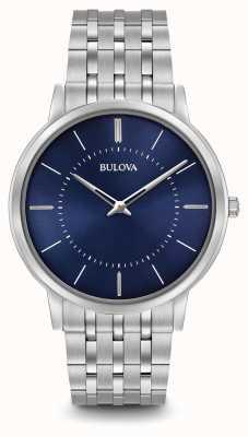 Bulova cadran bleu bracelet en acier inoxydable Mens ultra-mince 96A188