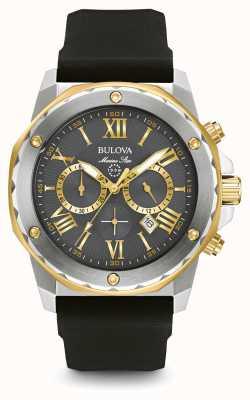 Bulova Mens marine étoile bracelet en caoutchouc noir 98B277