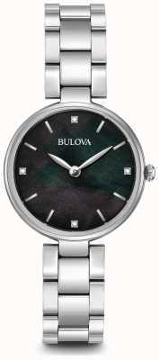 Bulova Womens bracelet en acier inoxydable mère noire de cadran nacre 96S173