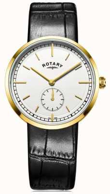 Rotary de Mens bracelet en cuir noir cadran blanc GS05062/02
