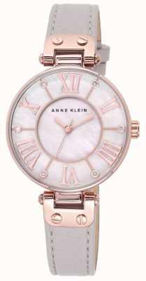 Anne Klein Bracelet femme en cuir gris avec bracelet en nacre 10/N9918RGTP