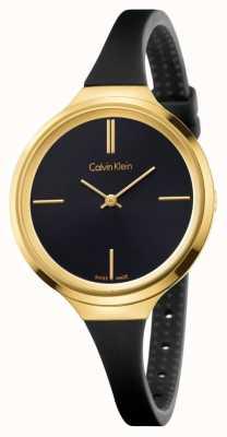 Calvin Klein Bracelet en caoutchouc noir animé femme cadran noir K4U235B1