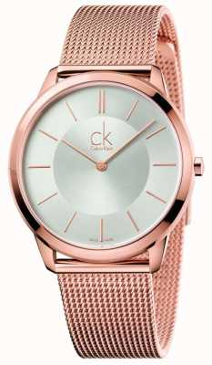 Calvin Klein Montre minimale homme | bracelet en maille ton or rose | cadran argenté K3M21626