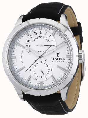 Festina Bracelet en cuir noir pour homme blanc F16573/1