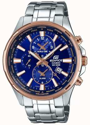 Casio Mens édifice bracelet en acier inoxydable cadran bleu EFR-304PG-2AVUEF