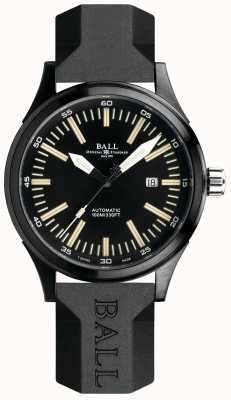 Ball Watch Company Fireman train de nuit bracelet en caoutchouc automatique cadran noir NM2092C-P-BK