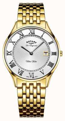 Rotary Mens ultra mince ton or en acier inoxydable cadran blanc GB90803/01