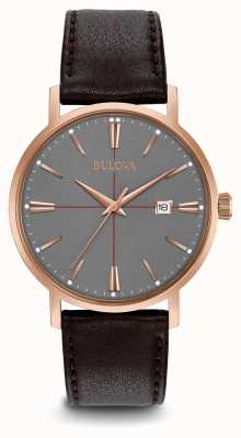Bulova Mens Aerojet bracelet en cuir brun cadran gris 97B154