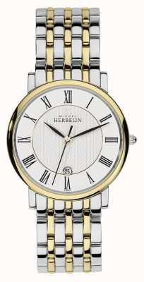 Michel Herbelin Mens deux tons en acier inoxydable bracelet en or argent 12543/BT01