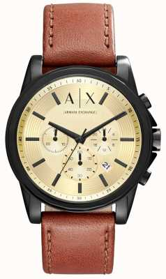 Armani Exchange Mens chronographe bracelet brun en cuir AX2511